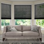 Three Satin Black 8307 Venetian Blinds 25 mm set in lounge