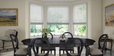 Three Porcelain 0065 Venetian Blinds 25 mm set in a dining room
