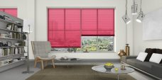 Three Fire Engine Red 0570 Venetian Blinds 25 mm set in a lounge
