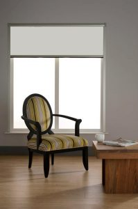 0651 Latte Blocout Blind in dining room in open position