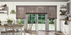 Three Pearl Bronze 0716 Venetian Blinds 25 mm set in a kitchen