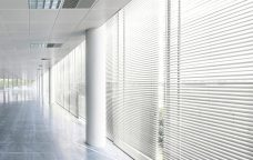 Pearl White 0750 Venetian Blinds 25 mm set in a commercial building