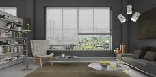 Three Hammered Mercury 0983 Venetian Blinds 25 mm set in a lounge