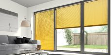 Three Ochre 1148 Venetian Blinds 25 mm set in a lounge