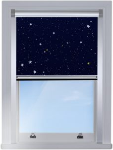 Night Sky BlocOut edge fitted blind with white channels