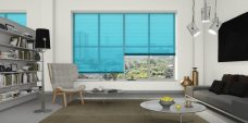 Three Teal 6038 Venetian Blinds set in lounge