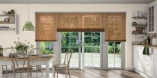 Three Wood Effect Teak 9944 Venetian Blinds set in a kitchen