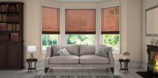 Three Wood Effect Walnut 9947 Venetian Blinds set in a lounge