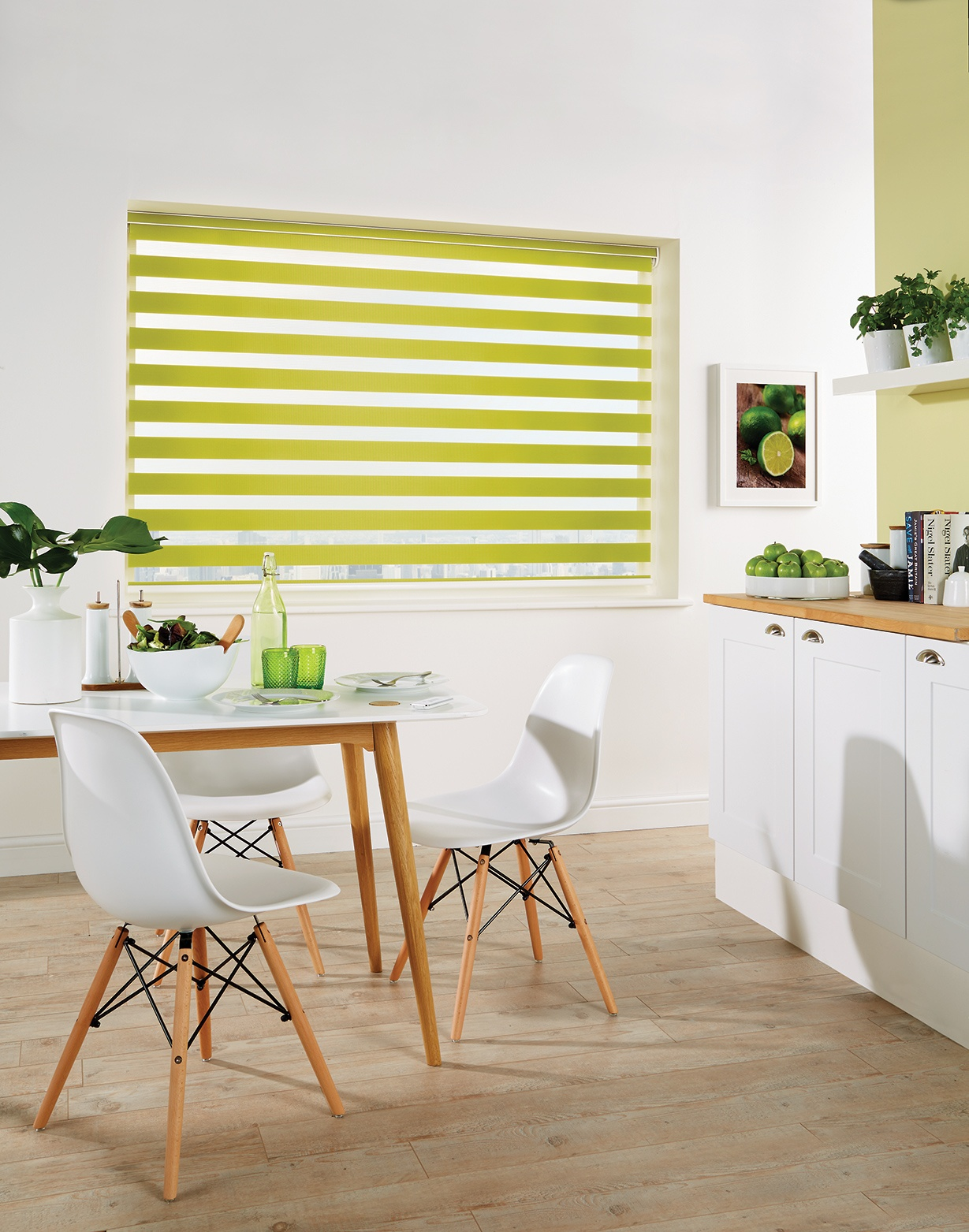 Capri Paradise Green Blind in a kitchen
