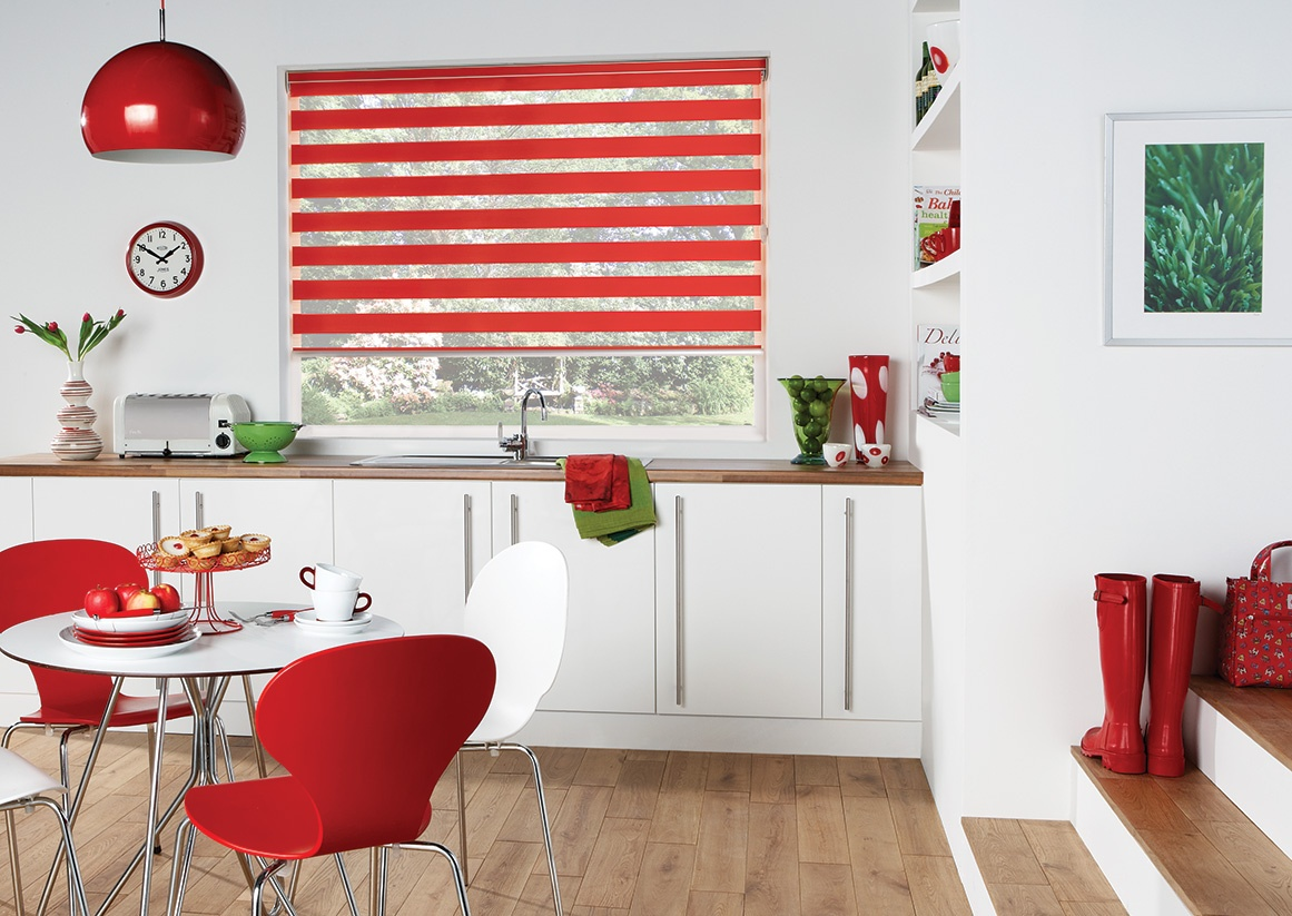 Capri Scarlet Blind in a kitchen