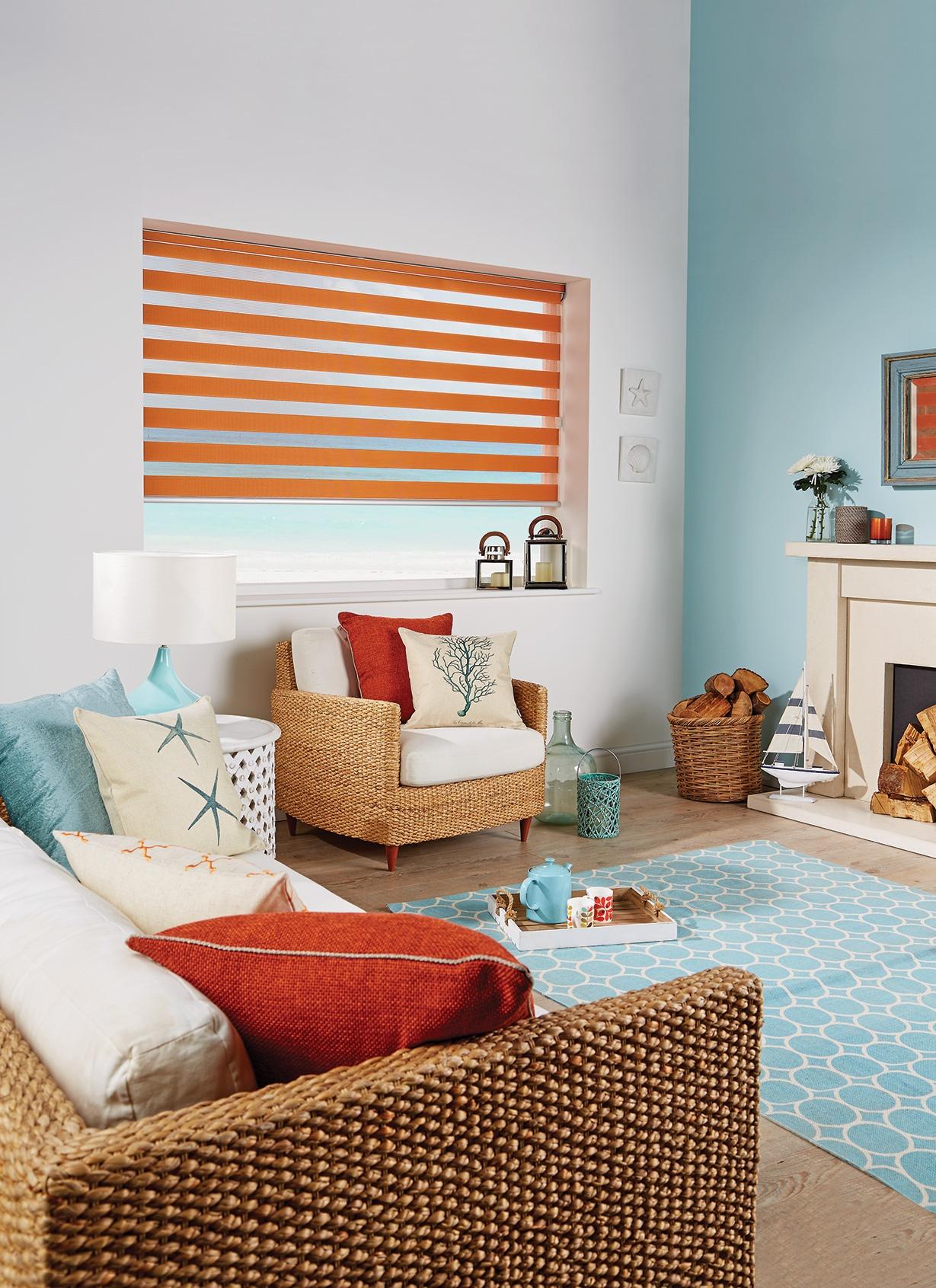 Capri Sunset Orange Blind in a living room