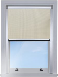 DB1830-pvc-beige-blocout blind edge fitted with silver side rails
