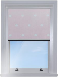 Digip001 Pink Polka Dot Blocout edge fitted blind