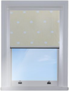 Digip002 Lemon Polka Dot BlocOut edge fitted blind with white side channels