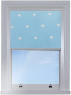 Digip003 Blue Polka Dot edge fitted blind with light blue background and white polka dots