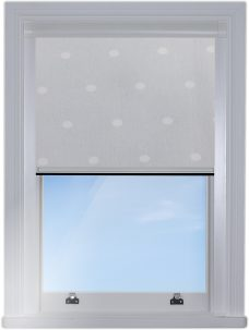 Digip004 Grey Polka Dot Blocout edge fitted blind with white side rails