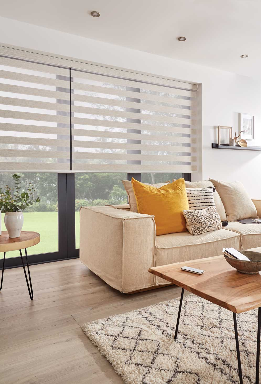 Lucca White Vision Blinds in a living room