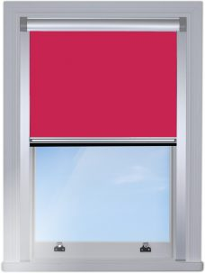 RF-Berlin 5932 Raspberry Blocout edge fitted blind with silver side rails and cassette head box