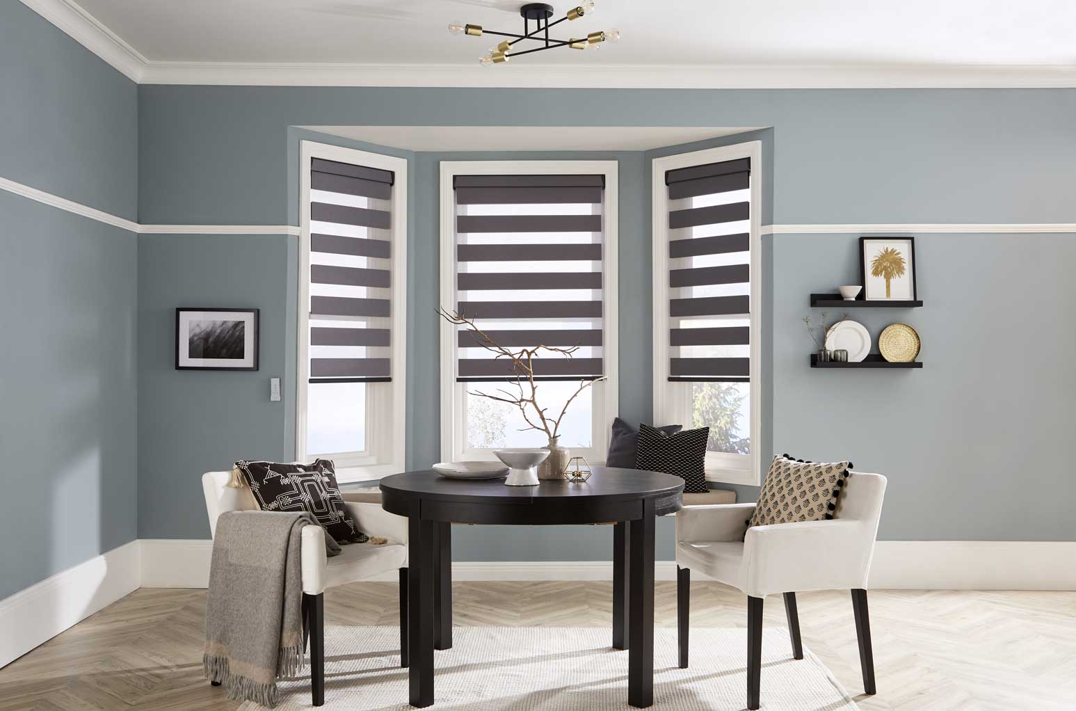 Three Verona Pewter Blinds in a dining room