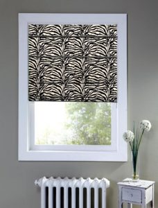 Africa Zebra Roman Blinds recess fitted in a window