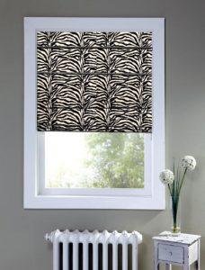 Africa Zebra Roman Blind recess fitted in a window