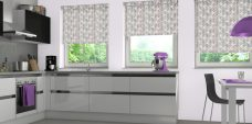 Three Azzura Grape blinds in a kitchen