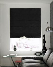Baltimore Black Roman Blinds in a recess window