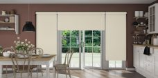 Three Banlight Angora Roller Blinds set in a kitchen