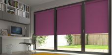 Three Banlight Grape Roller Blinds set in an office