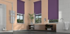 Three Banlight Iris Roller Blinds set in a bathroom