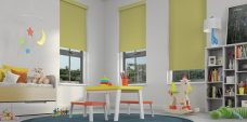 Three Banlight Lime Roller Blinds set in a child's room
