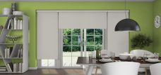 Three Banlight Silver Roller Blinds set in a kitchen