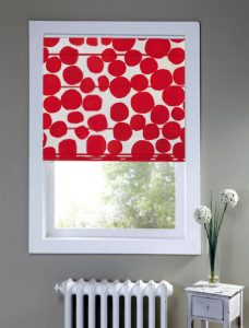 Buble Poppy Roman Blind in a recess window