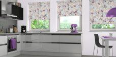 Three Burst Grape Blinds in a kitchen
