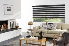 Capri Black Duplex Blind recess fitted in a lounge