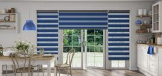 Three Two Capri Navy Duplex Blinds recess fitted in a kitchen