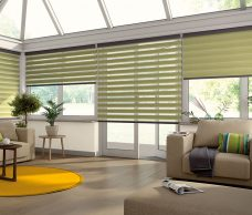 Four Capri Paradise Green Duplex Blinds fitted in a conservatory