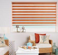 Capri Sunset Duplex Blind recess fitted in a lounge