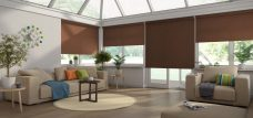 Four Chancery Chocolate Roller blinds in a conservatory
