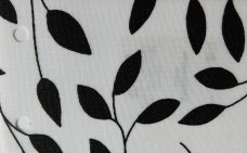 Chatsworth Black- A sheer fabric with a white background and black leaves