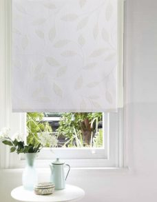 A Chatsworth White Roller Blind close up