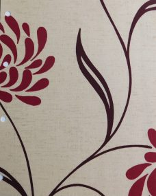Chrysanth Scarlet Roller Blind -A fabric with a beige background and large burgundy flowers and brown swirling leaves