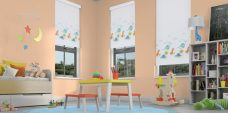 Three Dino Valley Blinds in a playroom