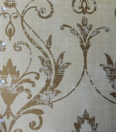 Distinction Champagne- A fabric with a beige/cream background and gold damask like pattern