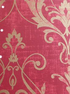 Distinction Scarlet Roller Blind- A fabric with a red background and gold damask like pattern