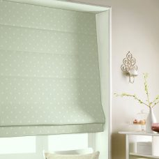 Dot To Dot Green Tea Roman Blind close up