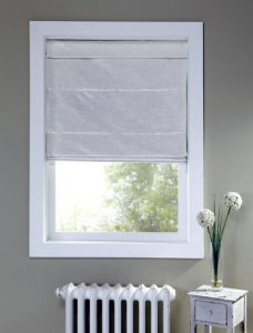 Harmony Bone Roman Blind in a recess window