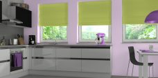 Three Havana Kiwi Roman Blinds set in a kitchen setting