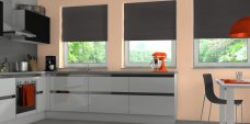Three Havana Onyx Roman Blinds set in a kitchen setting