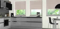 Three Havana Palma Roman Blinds set in a kitchen setting